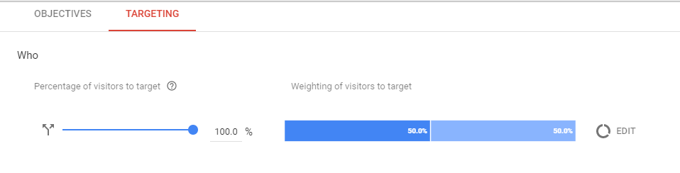 Percentage of traffic and event that triggers the test